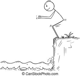 Cartoon of Man or Businessman Ready to Jump in Unknown...