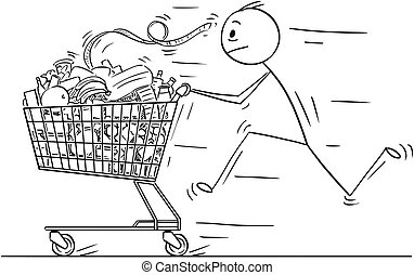 Cartoon of Man or Businessman Running and Pushing Shopping Cart Full of Goods