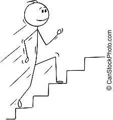 Cartoon of Man or Businessman Running Up Stairs or Staircase