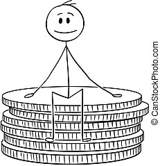 Cartoon stick drawing conceptual illustration of man or businessman sitting on small stack of coins. Business concept of wealth, savings and finance.