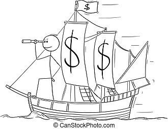 Cartoon of Man or Businessman Standing as Captain on the Sailing Boat Dollar Deck and Looking Through Spyglass