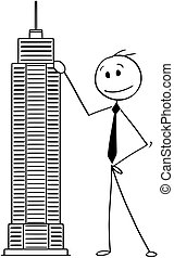 Cartoon of Man or Businessman Standing With Skyscraper Building Model