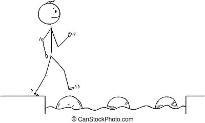 Cartoon of Man or Businessman Stepping on Stones to Get Over Water Obstacle