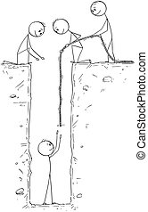 Cartoon of Man or Businessman Trapped in Deep Hole and Saved...