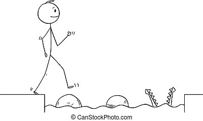 Cartoon stick figure drawing conceptual illustration of man or businessman stepping on big stones to get over water obstacle on his way to success ignoring danger. Business concept.