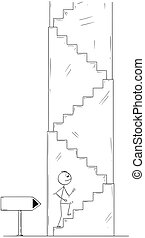 Cartoon of Man or Businessman Walking Up the Stairs, Empty Arrow Sign Showing Direction
