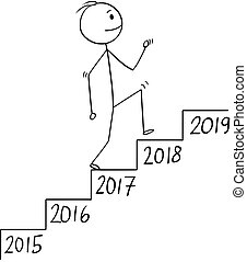 Cartoon of Man or Businessman Walking Up the Stairs, Metaphor of Growth in Time