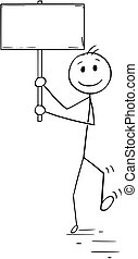 Cartoon of Man or Businessman Walking with Empty or Blank Sign