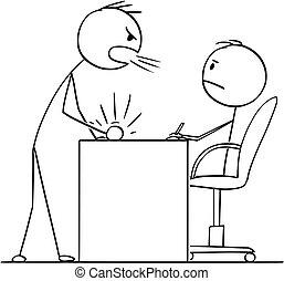 Cartoon of Man or Businessman Yelling at Boss or Clerk or...