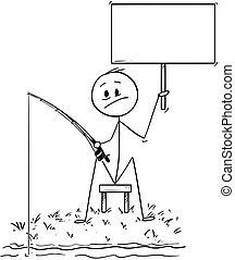 Cartoon of Man or Fisherman Fishing on the River or Lake Shore and Holding Empty Sign