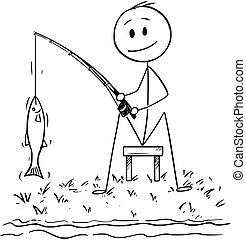 Cartoon of Man or Fisherman Fishing on the River or Lake Shore Catching a Fish