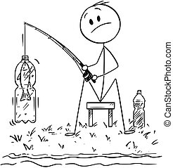 Cartoon of Man or Fisherman Fishing on the River or Lake Shore Catching a Fish in Plastic Bottle