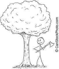 Cartoon of Man or Lumberjack With Axe Chopping Down the Tree