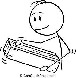 Cartoon of Man Packing or Unpacking Cardboard Paper Box or Package