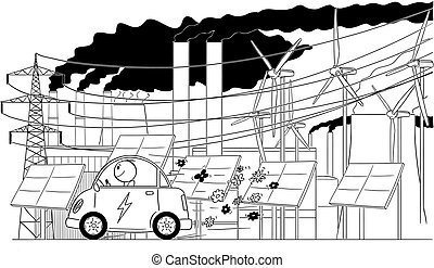 Cartoon of Man Riding Electric Car With Electrical Grid Infrastructure on Background