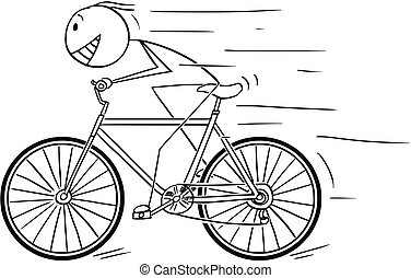 Cartoon of Man Riding Fast on Bicycle