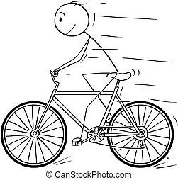 Cartoon of Man Riding on Bicycle