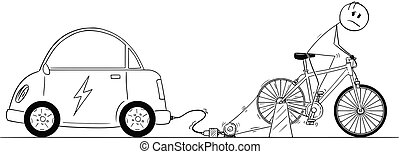 Cartoon of Man Riding on Bicycle Power Generator to Charge His Electric Car Battery