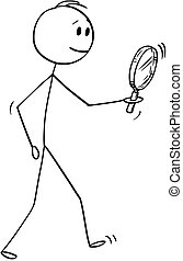 Cartoon of Man Searching With Magnifying Glass or Magnifier