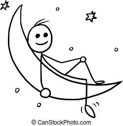 Cartoon of Man Sitting on the Crescent Moon