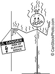 Cartoon of Man Touching Uninsulated Conductor and Got...