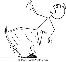Cartoon stick figure drawing conceptual illustration of man walking and stepping and slipping on the dog excrement or poop or stool or shit.