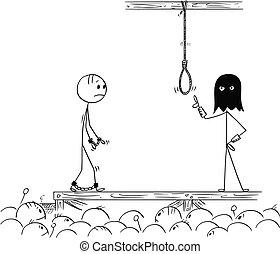 Cartoon of Man Walking On His Own Execution