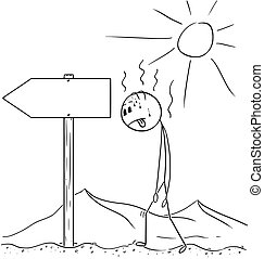 Cartoon of Man Walking Thirsty Through Desert and Found Empty Arrow Sign