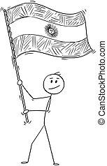 Cartoon of Man Waving Flag of Argentine Republic or ...