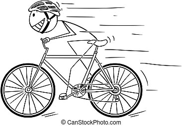 Cartoon of Man With Helmet Riding Fast on Bicycle