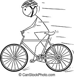 Cartoon of Man With Helmet Riding on Bicycle