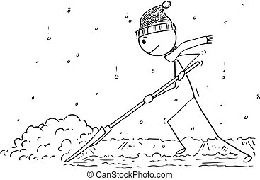 Cartoon of Man with Snow Pusher Shoveling the Snow