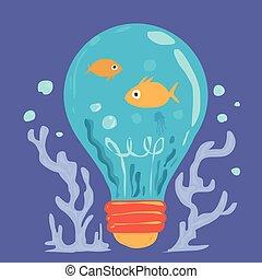 Cartoon of marine life in blue bulb
