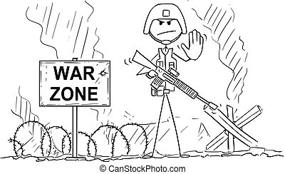 Cartoon of Modern Soldier On Battlefield Showing Stop Gesture