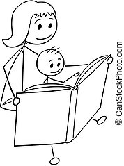 Cartoon of Mother and Son Reading a Book Together