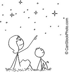 Cartoon of Mother and Son Watching Night Sky Stars