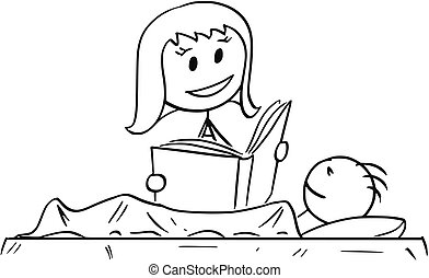 Cartoon of Mother Reading Bedtime Story or Book to Son