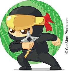 Cartoon of Ninja Holding Shuriken - A vector image of a...