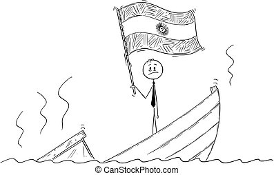 Cartoon of Politician Standing Depressed on Sinking Boat ...