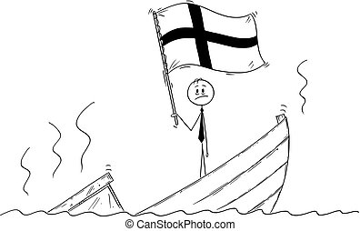 Cartoon of Politician Standing Depressed on Sinking Boat Waving the Flag of Republic of Finland