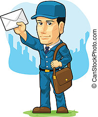 Cartoon of Postman or Mailman - A vector image of a...