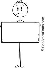 Cartoon of Sad Man Holding Empty or Blank Sign