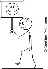 Cartoon of Sad or Depressed Man or Businessman Walking With Smiling Face on Sign
