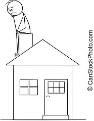 Cartoon of Sad or Thinking Man Sitting on Family House Chimney