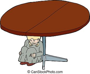 Cartoon of Scared Girl Under Table - Illustration of crying...