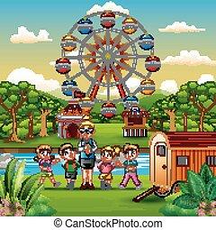 Cartoon of school children and a teacher with amusement park background
