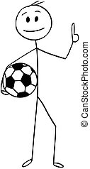 Cartoon of Smiling Football or Soccer Player Holding a Ball