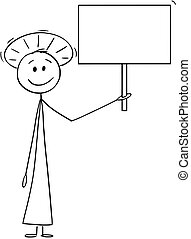 Cartoon of Smiling Holy Man or Priest with Halo Around Head Holding Empty Sign