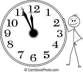 Cartoon of Smiling Man or Businessman Holding Big Wall Clock...