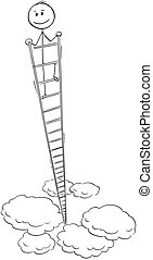 Cartoon of Smiling Man or Businessman Looking Around From the Top of Very High Ladder